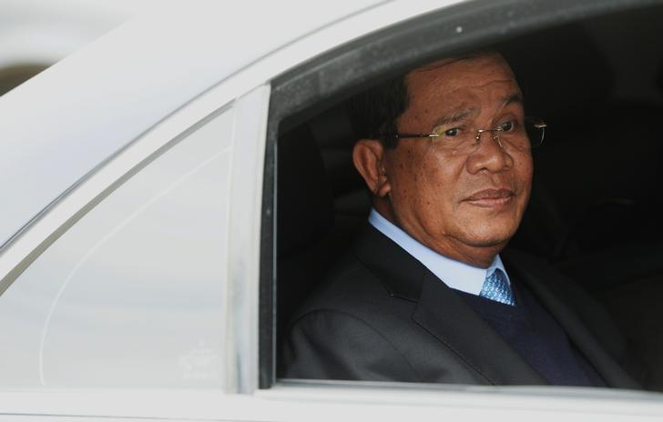 Cambodia's Prime Minister Hun Sen looks out from a car as he arrives for a Russia-ASEAN summit at Sochi International Airport, Russia, May 18, 2016. Host photo agency via Reuters