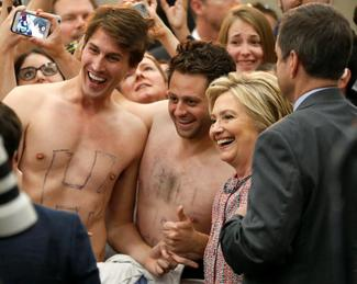 Shirts off for Hillary