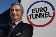Jacques Gounon, PDG d'Eurotunnel. L'opérateur, qui estime qu'une sortie du Royaume-Uni de l'Union européenne serait sans incidence majeure sur son activité, anticipe une hausse de ses ventes au 2e trimestre malgré des incertitudes sur le trafic de l'Eurostar. /Photo d'archives/REUTERS/Pascal Rossignol