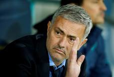 """Жозе Моуриньо на игре УЕФА. Английский футбольный клуб """"Манчестер Юнайтед"""" подтвердил в пятницу, что португалец Жозе Моуринью стал его новым наставником.   REUTERS/John Sibley/File"""
