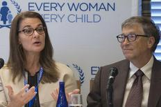 Melinda Gates and her husband Microsoft co-founder Bill Gates, co-founders of Bill & Melinda Gates Foundation, attend an United Nations' Every Woman, Every Child news conference in New York September 24, 2015. REUTERS/Pearl Gabel