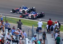 May 29, 2016; Indianapolis, IN, USA; IndyCar Series driver Jack Hawksworth (41) leads teammate Takuma Sato (14) during the 100th running of the Indianapolis 500 at Indianapolis Motor Speedway. Mandatory Credit: Mark J. Rebilas-USA TODAY Sports