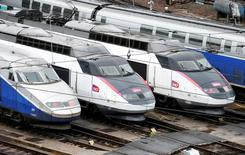 French TGV trains (high speed train) are parked at a SNCF depot station in Charenton-le-Pont near Paris, France, May 31, 2016 as railway workers from the France's rail-operator SNCF will start a national railway strike on Tuesday evening.  REUTERS/Charles Platiau