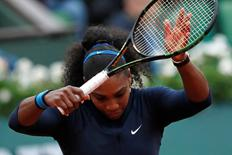 Tennis - French Open Womens Singles Quarterfinal match - Roland Garros - Serena Williams of the U.S. vs Yulia Putintseva of Kazakhstan - Paris, France - 02/06/16. Serena Williams reacts. REUTERS/Benoit Tessier