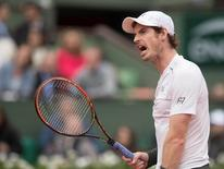 Andy Murray (GBR) reacts during his match against Richard Gasquet (FRA) on day 11 of the 2016 French Open. Mandatory Credit: Susan Mullane-USA TODAY Sports