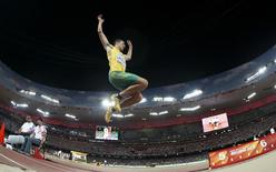 Fabrice Lapierre of Australia competes during the men's long jump final during the 15th IAAF World Championships at the National Stadium in Beijing, China, in this file photo dated August 25, 2015. REUTERS/Phil Noble