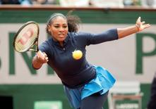 Jun 4, 2016;Paris, France; Serena Williams (USA) in action during her match against Garbine Muguruza (ESP) on day 14 of the 2016 French Open. Mandatory Credit: Susan Mullane-USA TODAY Sports