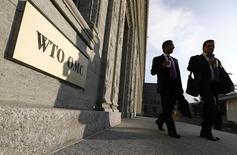 La sede de la Organización Mundial del Comercio en Ginebra, nov 27, 2014. Panamá ganó el martes un caso contra Colombia en la  Organización Mundial de Comercio (OMC) por el uso de altos aranceles a la importación de vestuario y calzado para controlar un supuesto lavado de dinero.    REUTERS/Denis Balibouse