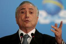 Presidente interino Michel Temer em evento no Palácio do Planalto, em Brasília. 08/06/2016 REUTERS/Ueslei Marcelino