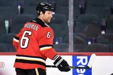 Mar 11, 2016; Calgary, Alberta, CAN; Calgary Flames defenseman Dennis Wideman (6) warms up against the Arizona Coyotes at Scotiabank Saddledome. Mandatory Credit: Candice Ward-USA TODAY Sports