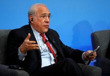 OECD Secretary General Angel Gurria speaks during a panel discussion during the Anti-Corruption Summit London 2016, at Lancaster House in central London on May 12, 2016.  REUTERS/Adrian Dennis