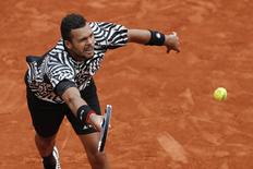 Tennis - French Open - Roland Garros - Jan-Lennard Struff of Germany vs Jo-Wilfried Tsonga of France - Paris, France - 24/05/16. Jo-Wilfried Tsonga in action.  REUTERS/Benoit Tessier