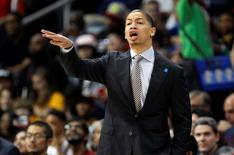 Apr 1, 2016; Atlanta, GA, USA; Cleveland Cavaliers head coach Tyronn Lue coaches against the Atlanta Hawks in the first quarter at Philips Arena. Mandatory Credit: Brett Davis-USA TODAY Sports