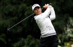 Jun 11, 2016; Sammamish, WA, USA; Lydia Ko tees off on the fourth hole during the third round of the KPMG Women's PGA Championship at Sahalee Country Club - South/North Course. Mandatory Credit: Joe Nicholson-USA TODAY Sports