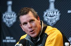 Pittsburgh Penguins head coach Mike Sullivan addresses the media during media day a day prior to game one of the 2016 Stanley Cup Final at the CONSOL Energy Center.  Charles LeClaire-USA TODAY Sports