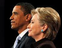 Obama e Hillary quando eram candidatos durante debate em Hollywood  31/1/2008 REUTERS/Brian Snyder