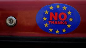 A car sticker with a logo encouraging people to leave the EU is seen on a car, in Llandudno, Wales, February 27, 2016. REUTERS/Phil Noble/Files