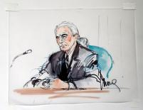 "Led Zeppelin guitarist Jimmy Page is shown sitting in federal court for a hearing in a lawsuit involving their rock classic song ""Stairway to Heaven"" in this courtroom sketch in Los Angeles, California June 14, 2016.  REUTERS/Mona Edwards"