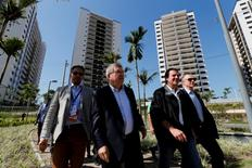 President of the International Olympic Committee (IOC) Thomas Bach (2nd L), Rio de Janeiro mayor Eduardo Paes (2nd R) and Rio 2016 Olympic Games Organising Committee President Carlos Arthur Nuzman attend the opening ceremony of the Olympic Village in Rio de Janeiro, Brazil June 15, 2016. REUTERS/Sergio Moraes