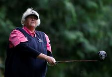 Jun 9, 2016; Sammamish, WA, USA; Laura Davies watches her shot off of the 11th tee during the first round of the KPMG Women's PGA Championship at Sahalee Country Club - South/North Course. Mandatory Credit: Joe Nicholson-USA TODAY Sports