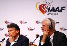 IAAF President Sebastian Coe (L) and Rune Andersen, head of the IAAF taskforce on Russia, attend a news conference after the International Association of Athletics Federations (IAAF) council meeting in Vienna, Austria, June 17, 2016.  REUTERS/Leonhard Foeger