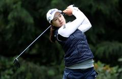 Jun 11, 2016; Sammamish, WA, USA; In Gee Chun hits off of the fourth tee during the third round of the KPMG Women's PGA Championship at Sahalee Country Club - South/North Course. Mandatory Credit: Joe Nicholson-USA TODAY Sports