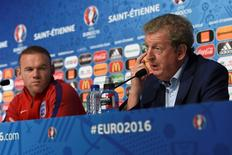 Football Soccer - EURO 2016 - England News Conference - Saint-Etienne, France - 19/6/16 - England Wayne Rooney and Head Coach Roy Hodgson face the media during the news conference.  UEFA/Handout via REUTERS