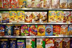 Cereal boxes for sale are displayed at a supermarket in Jerusalem June 19, 2016. REUTERS/Ronen Zvulun