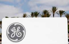 The logo of  General Electric is shown at their subsidiary company GE Aviation in Santa Ana, California April 13, 2016.  REUTERS/Mike Blake