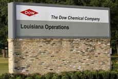 A sign is seen at an entrance to a Dow Chemical Co plant in Plaquemine, Louisiana December 12, 2015.REUTERS/Jonathan Bachman