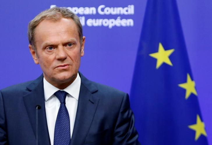 European Council President Donald Tusk briefs the media after Britain voted to leave the bloc, in Brussels, Belgium, June 24, 2016.   REUTERS/Francois Lenoir
