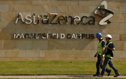 A sign is seen at an AstraZeneca site in Macclesfield, central England May 19, 2014. REUTERS/Phil Noble/File Photo -