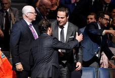 Jun 24, 2016; Buffalo, NY, USA; Auston Matthews is congratulated by supporters in the stands after being selected as the number one overall draft pick by the Toronto Maple Leafs in the first round of the 2016 NHL Draft at the First Niagra Center. Mandatory Credit: Timothy T. Ludwig-USA TODAY Sports