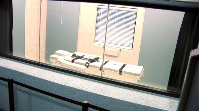 The execution chamber at the Arizona State Prison Complex- Florence - HU9 is shown in the screen grab from a video provided by the Arizona Department of Corrections March 4, 2015.  REUTERS/Arizona Department of Corrections/Handout