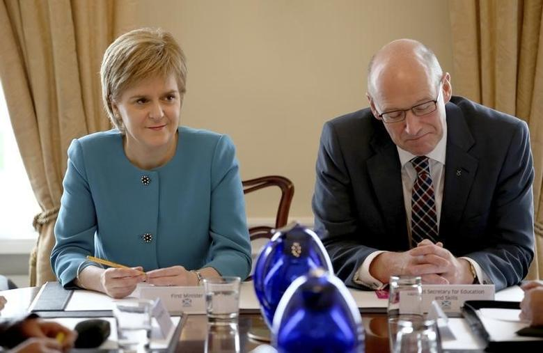 Scotland's First Minister Nicola Sturgeon and Deputy First Minister John Swinney during an emergency cabinet meeting at Bute House in Edinburgh, Scotland June 25, 2016. REUTERS/Jane Barlow/Pool