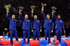Jun 25, 2016; St. Louis, MO, USA; Sam Mikulak and Alex Naddour and Jacob Dalton and Chris Brooks and John Orozco celebrate after being selected to the 2016 USA Mens Gymnastics Olympic Team during the 2016 USA Gymnastics Olympic Team Trials at Chaifetz Arena. Mandatory Credit: Jasen Vinlove-USA TODAY Sports