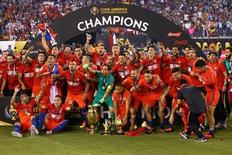 Equipe chilena comemorando título da Copa América Centenário, nos EUA.    26/06/2016      Brad Penner-USA TODAY Sports -