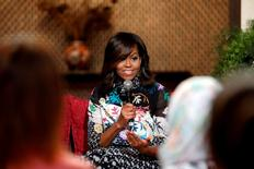 U.S first lady Michelle Obama participates in a conversation with Moroccan adolescent girls moderated by CNN's Isha Sesay following the Let Girls Learn program in Marrakech, Morocco June 28, 2016. REUTERS/Youssef Boudlal