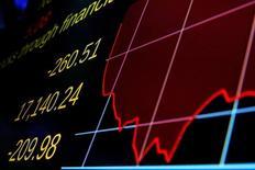 Экран, демонстрирующий динамику индекса Dow Jones. Американские фондовые индексы резко повысились при открытии торгов в среду второй день подряд, поскольку первоначальная паника, вызванная решением Великобритании покинуть Евросоюз, улеглась и инвесторы отправились на поиски выгодных покупок.  REUTERS/Brendan McDermid