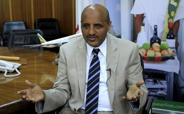 Ethiopian Airlines Chief Executive Officer Tewolde Gebremariam speaks during an interview with Reuters in his office in Ethiopia's capital Addis Ababa August 18, 2015. REUTERS/Tiksa Negeri