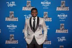 Jun 22, 2016; Las Vegas, NV, USA; Montreal Canadiens defenseman P.K. Subban walks the red carpet during the 2016 NHL Awards at Hard Rock Hotel and Casino. Mandatory Credit: Joshua Dahl-USA TODAY Sports
