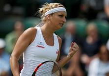 Britain Tennis - Wimbledon - All England Lawn Tennis & Croquet Club, Wimbledon, England - 30/6/16 Switzerland's Timea Bacsinszky celebrates during her match against Thailand's Luksika Kumkhum REUTERS/Paul Childs