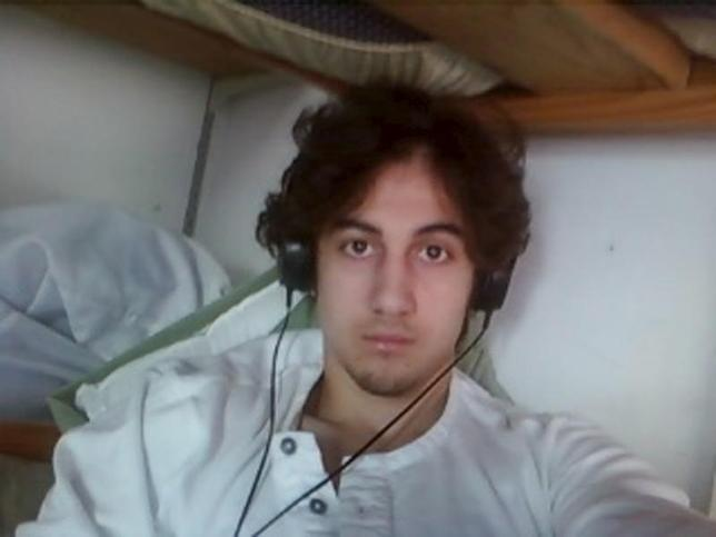 Boston bombing suspect Dzhokhar Tsarnaev is pictured in this file handout photo presented as evidence by the U.S. Attorney's Office in Boston, Massachusetts on March 23, 2015.  REUTERS/U.S. Attorney's Office in Boston/Handout via Reuters