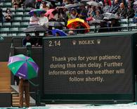 Britain Tennis - Wimbledon - All England Lawn Tennis & Croquet Club, Wimbledon, England - 1/7/16 The scoreboard on court 1 displays a message as spectators wait during a rain delay  REUTERS/Andrew Couldridge