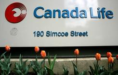 A sign is seen outside the headquarters of Canada Life in Toronto, in this May 7, 2009 file photo. REUTERS/Peter Jones