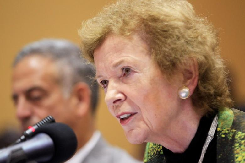 U.N. Special Envoy Mary Robinson speaks during the extraordinary summit of the International Conference on the Great Lakes Region (ICGLR) head of states emergency summit in Uganda's capital Kampala September 5, 2013. REUTERS/James Akena