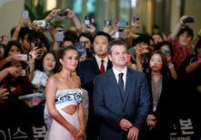 "Actor Matt Damon and actress Alicia Vikander attend the red carpet event promoting their new film ""Jason Bourne"" in Seoul, South Korea July 8, 2016. REUTERS/Kim Hong-Ji"