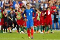 Football Soccer - Portugal v France - EURO 2016 - Final - Stade de France, Saint-Denis near Paris, France - 10/7/16 France's Antoine Griezmann reacts at the end of the game REUTERS/John Sibley