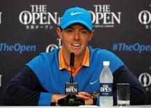 Golf - British Open - Practice Round - Royal Troon, Scotland, Britain - 12/07/2016. Rory McIlroy of Northern Ireland smiles during a news conference. REUTERS/Craig Brough