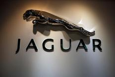 The Jaguar logo is pictured at a Jaguar Land Rover showroom in Mumbai February 13, 2013.    REUTERS/Vivek Prakash/File Photo